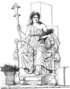 Abbildung aus Meyers Konversationslexikon von 1888 - Demeter (Relief aus Pompeji)